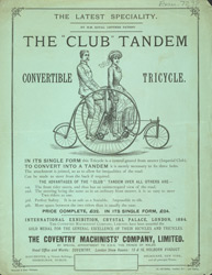 Advert for the Club Tandem Tricycle